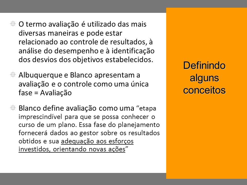 O termo avaliação é utilizado das mais diversas maneiras e pode estar relacionado ao controle de resultados, à análise do desempenho e à identificação