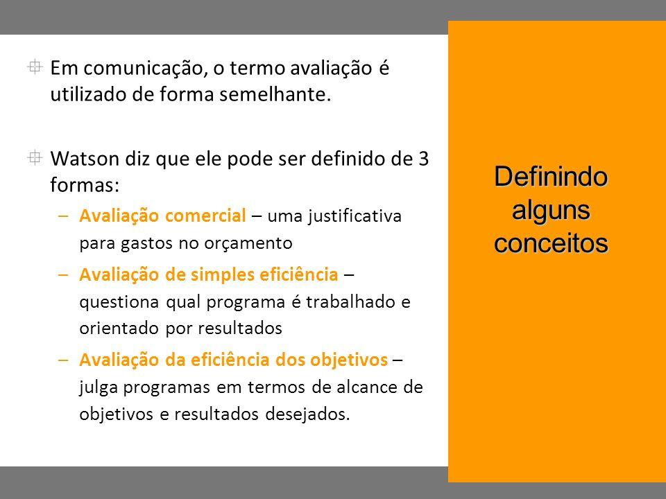 Em comunicação, o termo avaliação é utilizado de forma semelhante. Watson diz que ele pode ser definido de 3 formas: –Avaliação comercial – uma justif