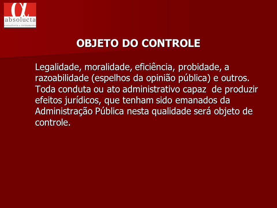 Legalidade, moralidade, eficiência, probidade, a razoabilidade (espelhos da opinião pública) e outros. Toda conduta ou ato administrativo capaz de pro
