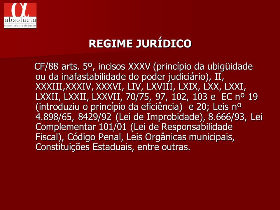 CF/88 arts. 5º, incisos XXXV (princípio da ubigüidade ou da inafastabilidade do poder judiciário), II, XXXIII,XXXIV, XXXVI, LIV, LXVIII, LXIX, LXX, LX