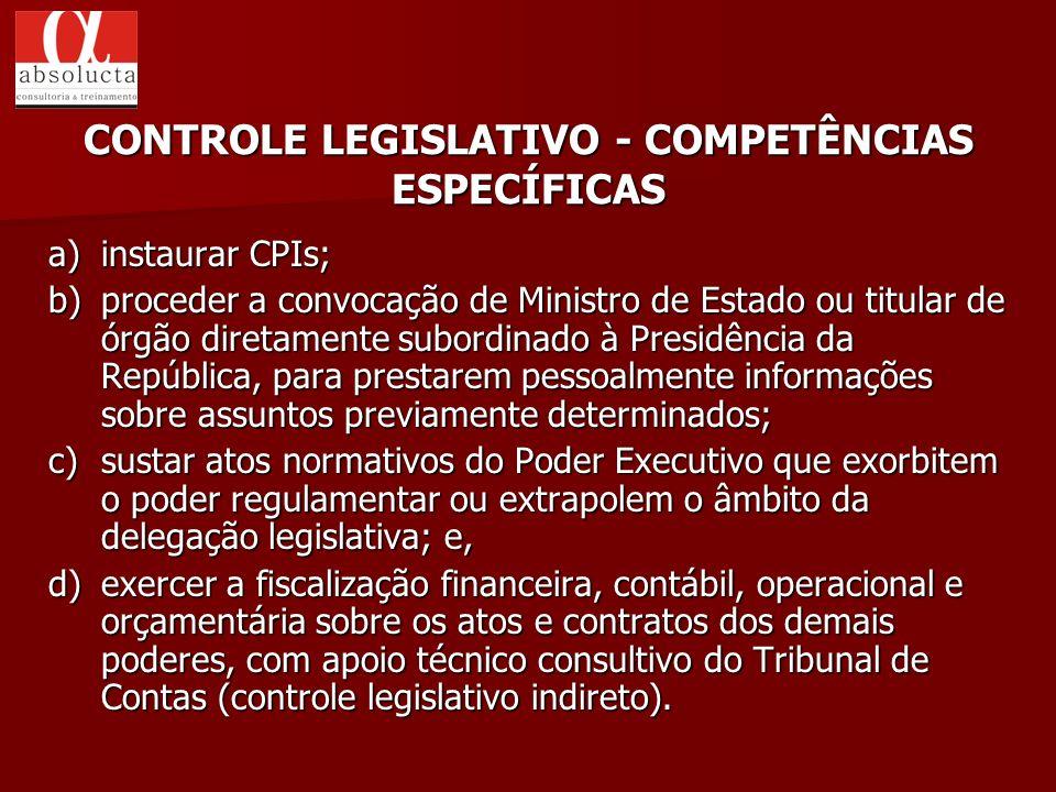 a) instaurar CPIs; b) proceder a convocação de Ministro de Estado ou titular de órgão diretamente subordinado à Presidência da República, para prestar