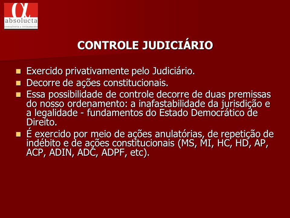 Exercido privativamente pelo Judiciário. Exercido privativamente pelo Judiciário. Decorre de ações constitucionais. Decorre de ações constitucionais.