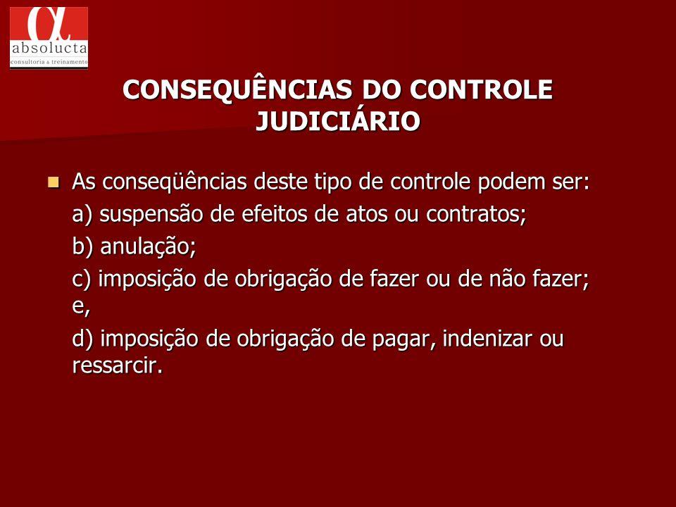 As conseqüências deste tipo de controle podem ser: As conseqüências deste tipo de controle podem ser: a) suspensão de efeitos de atos ou contratos; b)