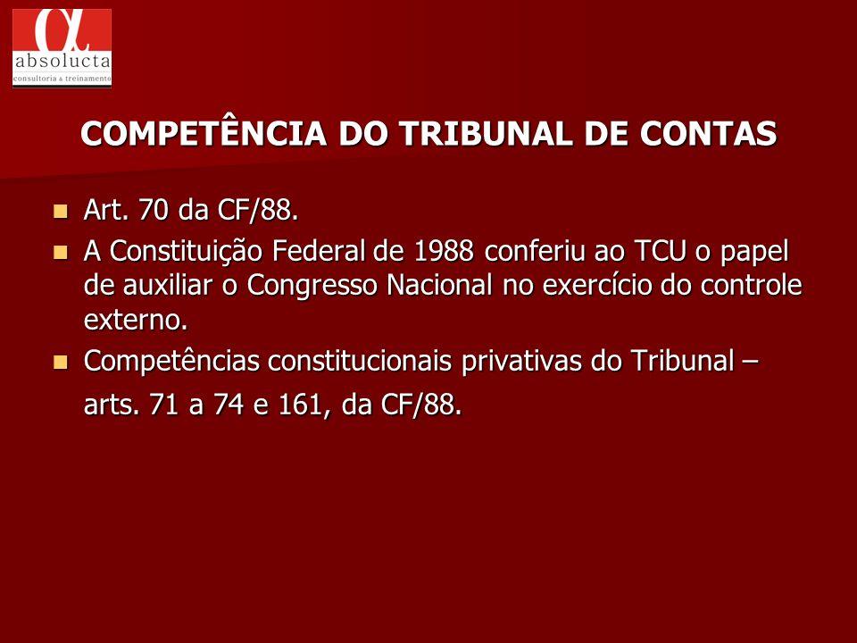 Art. 70 da CF/88. Art. 70 da CF/88. A Constituição Federal de 1988 conferiu ao TCU o papel de auxiliar o Congresso Nacional no exercício do controle e