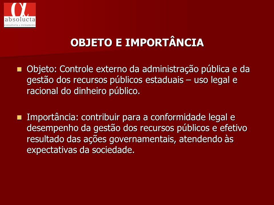 Objeto: Controle externo da administração pública e da gestão dos recursos públicos estaduais – uso legal e racional do dinheiro público. Objeto: Cont