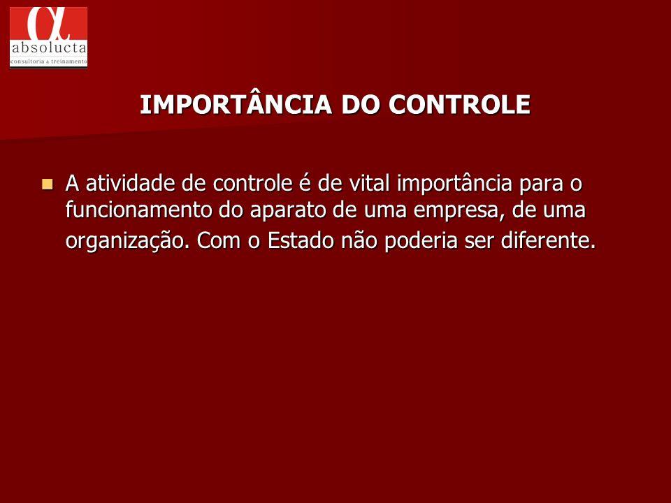 A atividade de controle é de vital importância para o funcionamento do aparato de uma empresa, de uma organização. Com o Estado não poderia ser difere