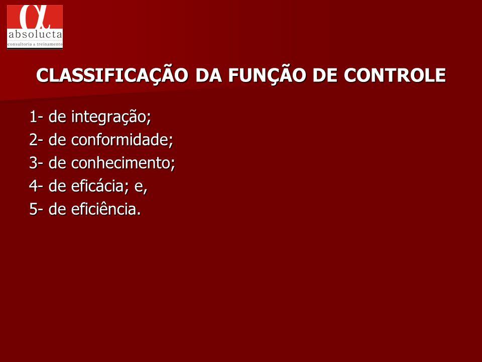 1- de integração; 2- de conformidade; 3- de conhecimento; 4- de eficácia; e, 5- de eficiência. CLASSIFICAÇÃO DA FUNÇÃO DE CONTROLE