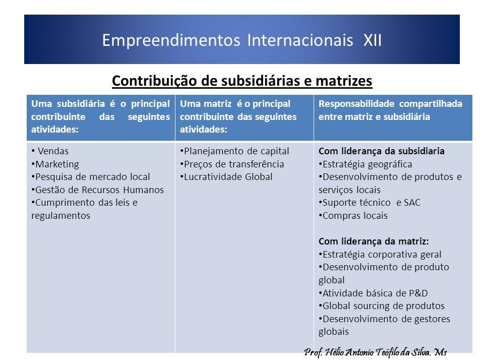 Empreendimentos Internacionais XII 12 Contribuição de subsidiárias e matrizes Uma subsidiária é o principal contribuinte das seguintes atividades: Uma