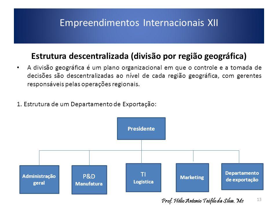 Empreendimentos Internacionais XII Estrutura descentralizada (divisão por região geográfica) A divisão geográfica é um plano organizacional em que o c