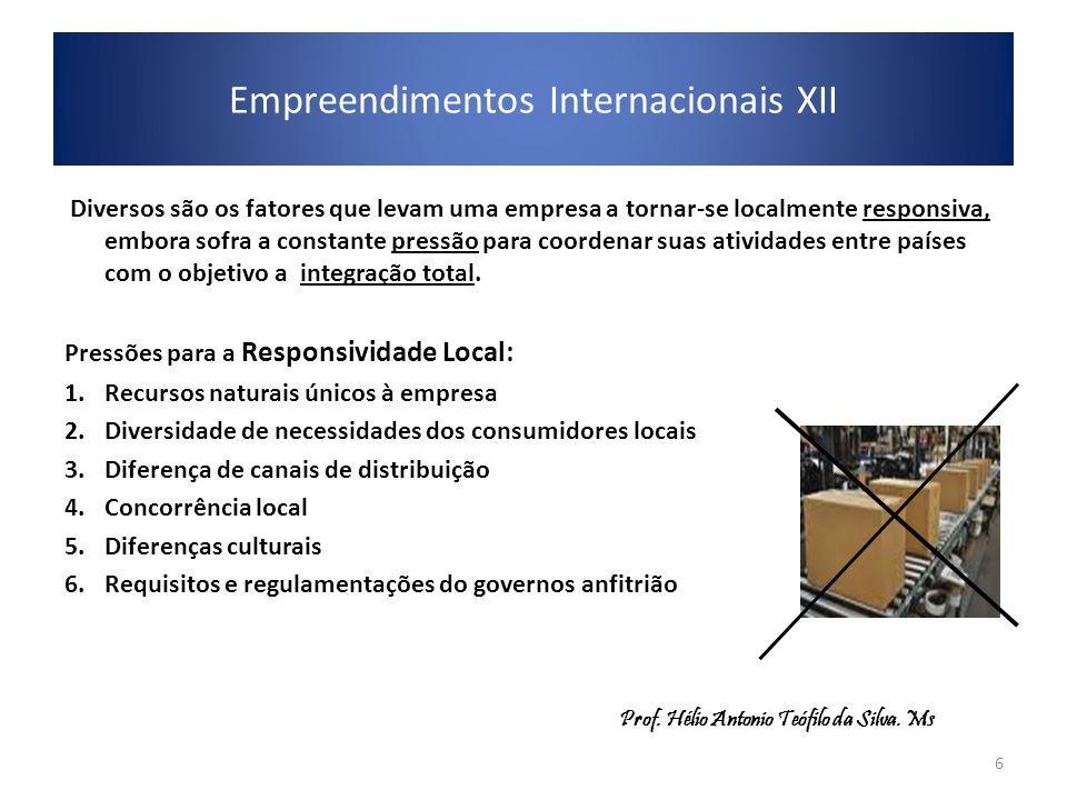 Empreendimentos Internacionais XII Diversos são os fatores que levam uma empresa a tornar-se localmente responsiva, embora sofra a constante pressão p