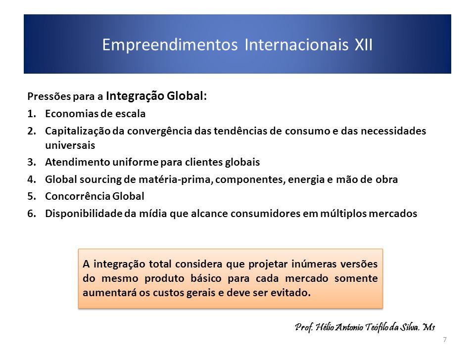 Pressões para a Integração Global: 1.Economias de escala 2.Capitalização da convergência das tendências de consumo e das necessidades universais 3.Ate