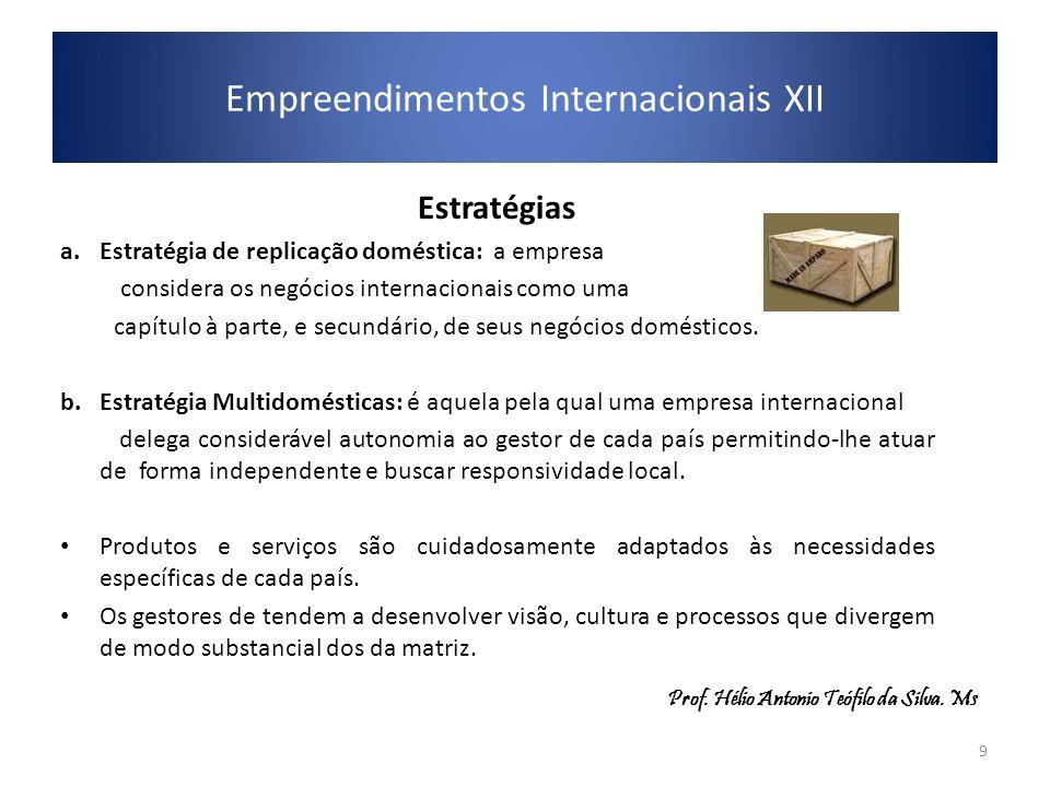 Estratégias a.Estratégia de replicação doméstica: a empresa considera os negócios internacionais como uma capítulo à parte, e secundário, de seus negó