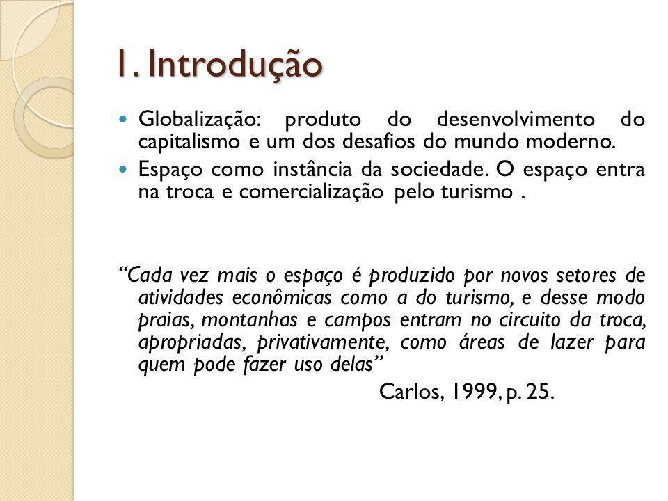 1. Introdução Globalização: produto do desenvolvimento do capitalismo e um dos desafios do mundo moderno. Espaço como instância da sociedade. O espaço