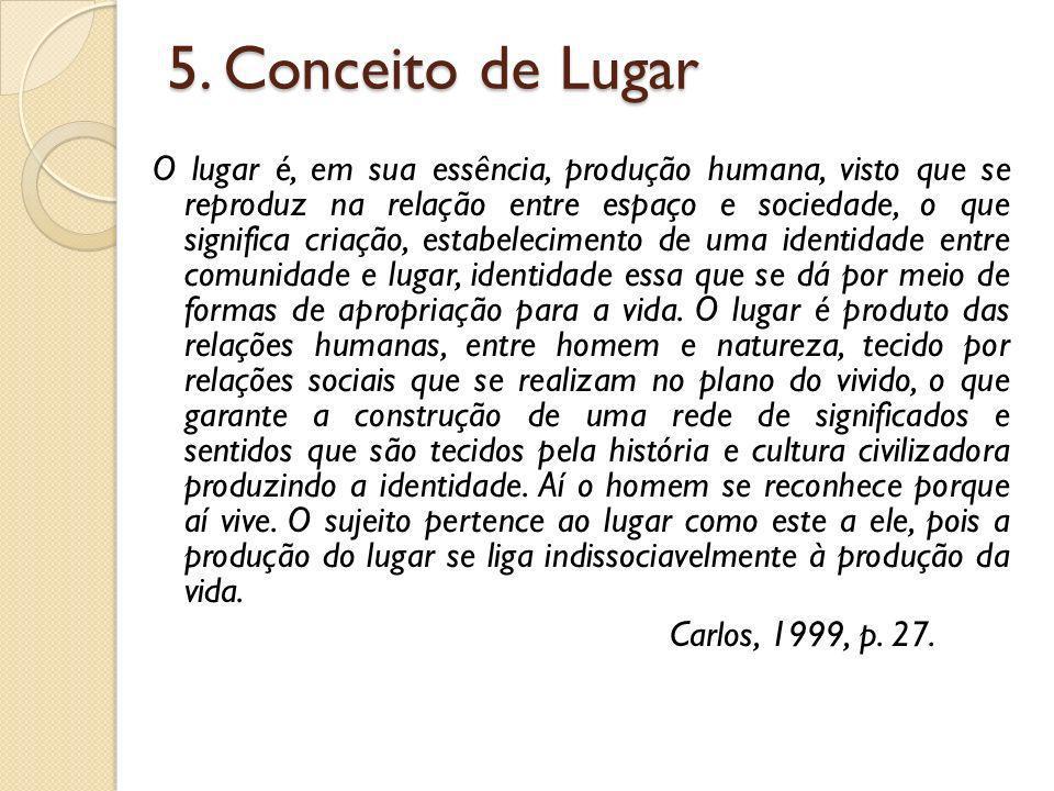 5. Conceito de Lugar O lugar é, em sua essência, produção humana, visto que se reproduz na relação entre espaço e sociedade, o que significa criação,