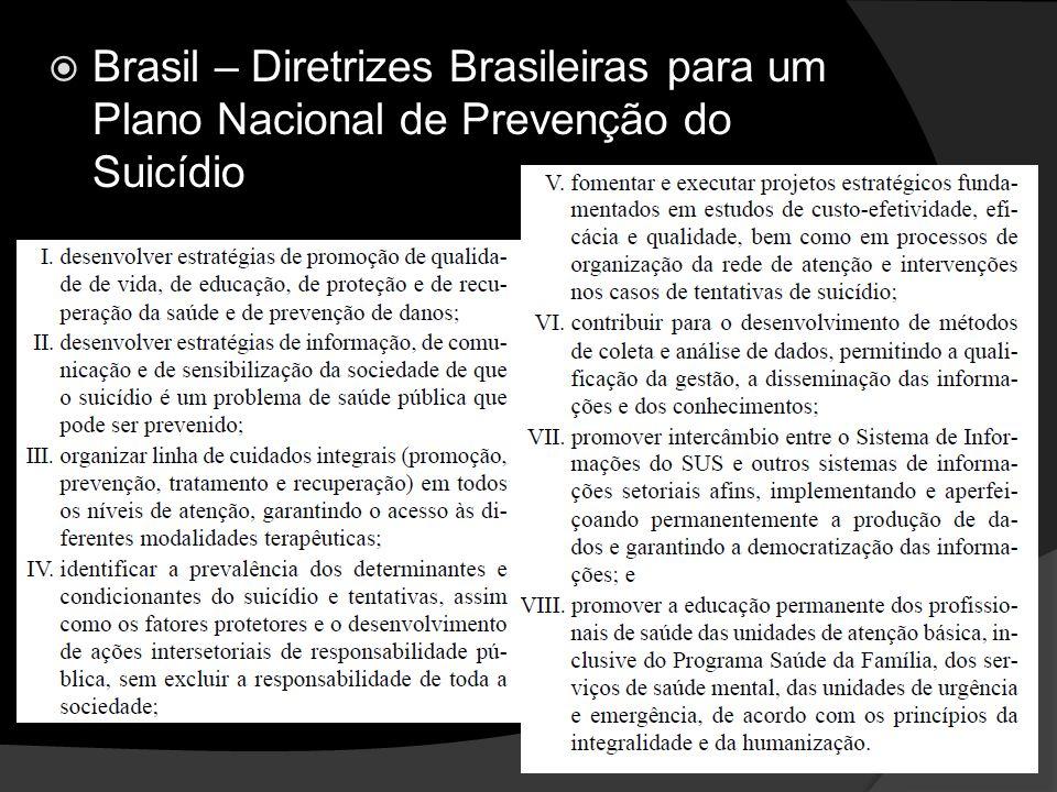 Brasil – Diretrizes Brasileiras para um Plano Nacional de Prevenção do Suicídio
