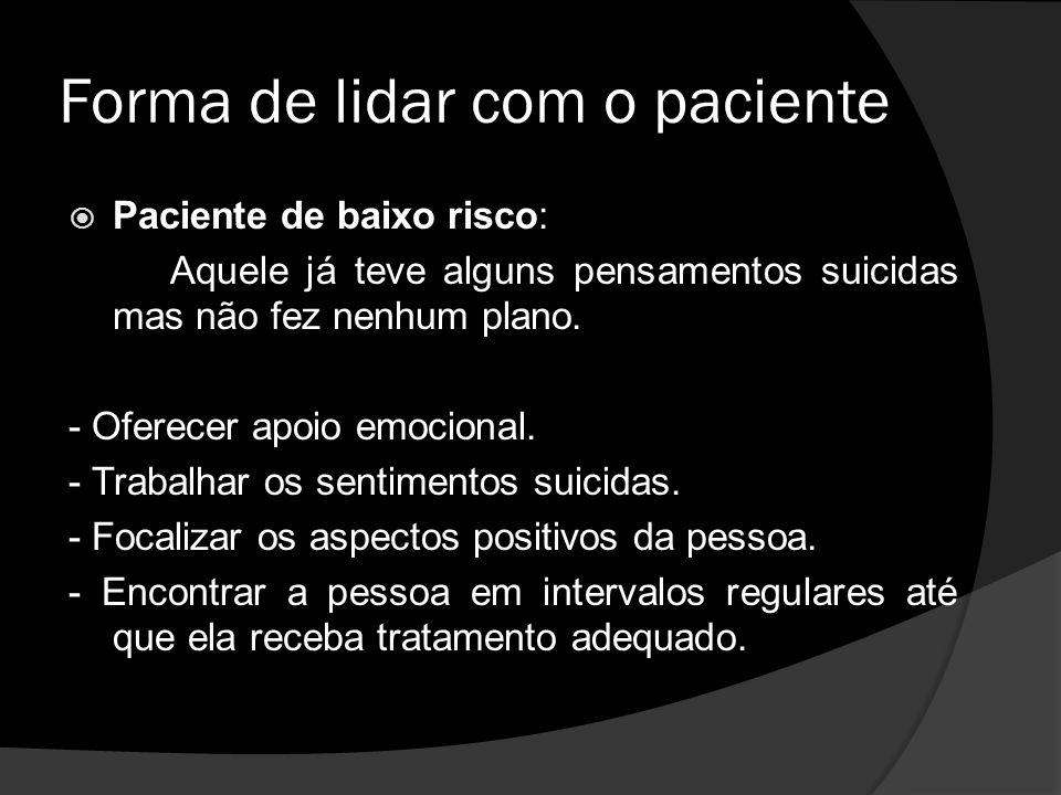 Forma de lidar com o paciente Paciente de baixo risco: Aquele já teve alguns pensamentos suicidas mas não fez nenhum plano.