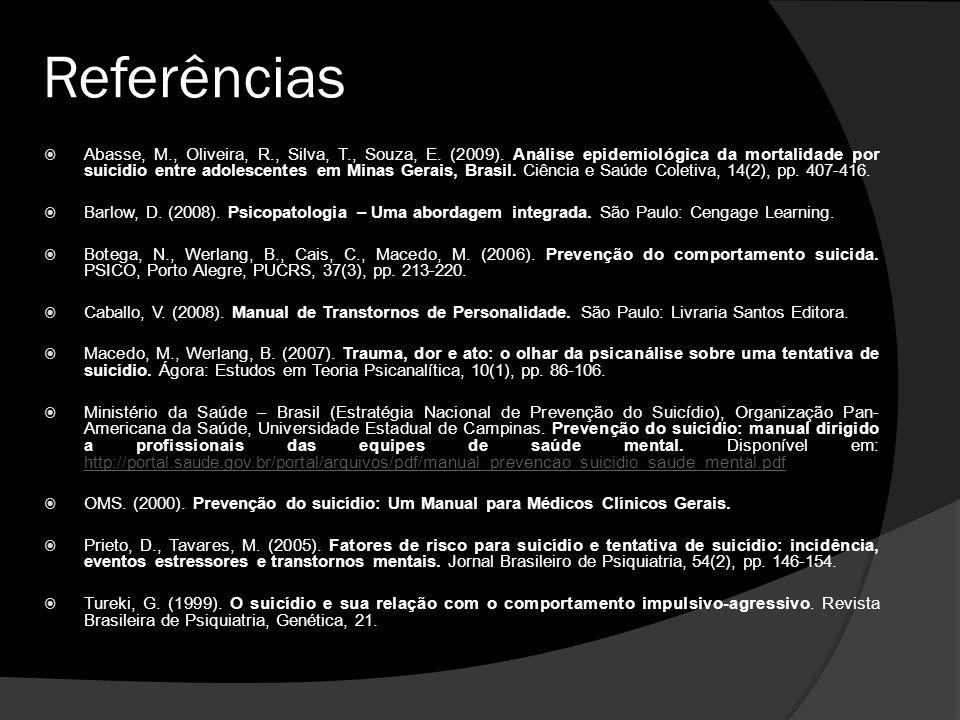 Referências Abasse, M., Oliveira, R., Silva, T., Souza, E.