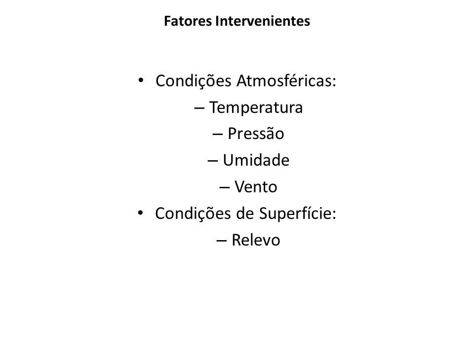 Fatores Intervenientes Condições Atmosféricas: – Temperatura – Pressão – Umidade – Vento Condições de Superfície: – Relevo