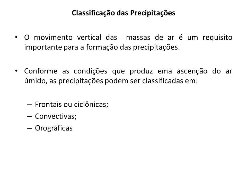 Classificação das Precipitações O movimento vertical das massas de ar é um requisito importante para a formação das precipitações. Conforme as condiçõ