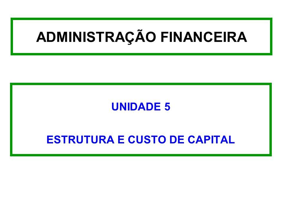 ADMINISTRAÇÃO FINANCEIRA UNIDADE 5 ESTRUTURA E CUSTO DE CAPITAL