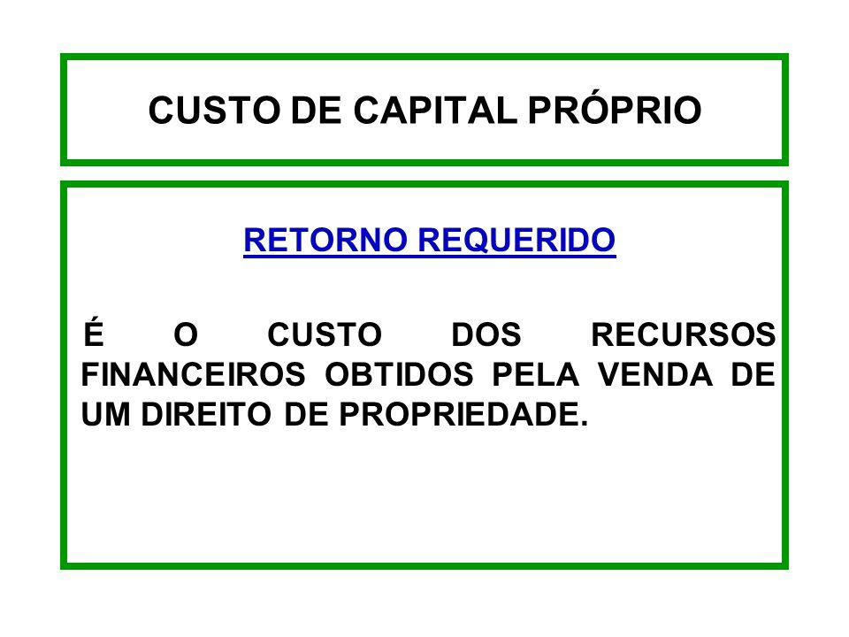 CUSTO DE CAPITAL DE TERCEIROS - EXEMPLO CUSTO DE EMPRÉSTIMOS DEPOIS DO I.R. Ki = 8,23 ( 1 - 0,35 ) 8,23 x 0,65 Ki = 5,35%