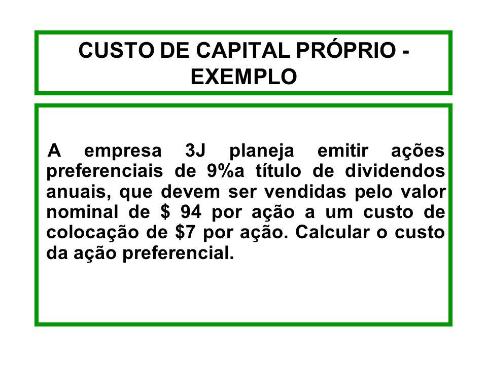 CUSTO DE CAPITAL PRÓPRIO - FÓRMULAS AÇÕES PREFERENCIAIS k p = Dp RL Kp = Ação Preferencial Dp = Dividendo Anual a Pagar RL = Recebimento Líquido Venda