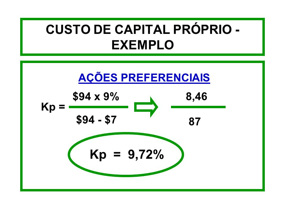 CUSTO DE CAPITAL PRÓPRIO - EXEMPLO A empresa 3J planeja emitir ações preferenciais de 9%a título de dividendos anuais, que devem ser vendidas pelo val