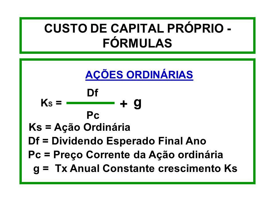 CUSTO DE CAPITAL PRÓPRIO - EXEMPLO AÇÕES PREFERENCIAIS Kp = $94 x 9% $94 - $7 8,46 87 Kp = 9,72%