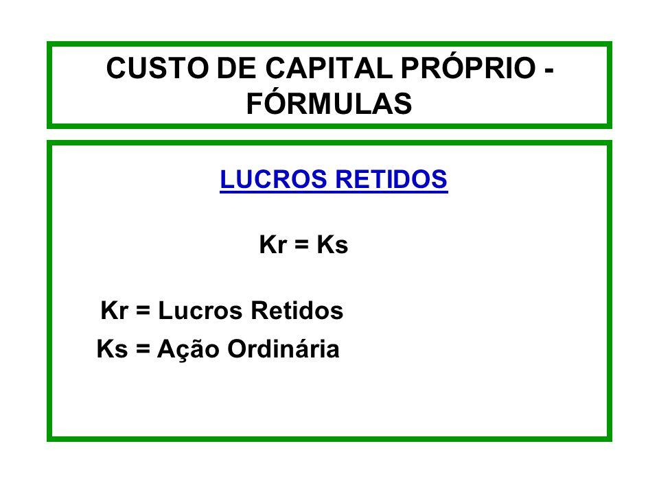 CUSTO DE CAPITAL PRÓPRIO - EXEMPLO Kn = 4,90 65,00 - 7,15 + 5,45 8,47 + 5,45 K n = 13,92%