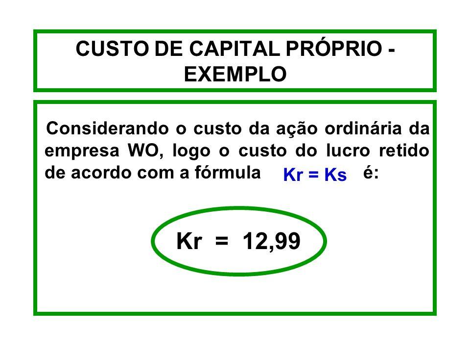 CUSTO DE CAPITAL PRÓPRIO - FÓRMULAS LUCROS RETIDOS Kr = Ks Ks = Ação Ordinária Kr = Lucros Retidos
