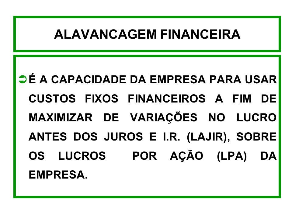 ALAVANCAGEM FINANCEIRA É A CAPACIDADE DA EMPRESA PARA USAR CUSTOS FIXOS FINANCEIROS A FIM DE MAXIMIZAR DE VARIAÇÕES NO LUCRO ANTES DOS JUROS E I.R.