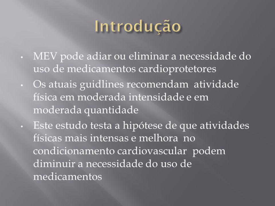 MEV pode adiar ou eliminar a necessidade do uso de medicamentos cardioprotetores Os atuais guidlines recomendam atividade física em moderada intensida