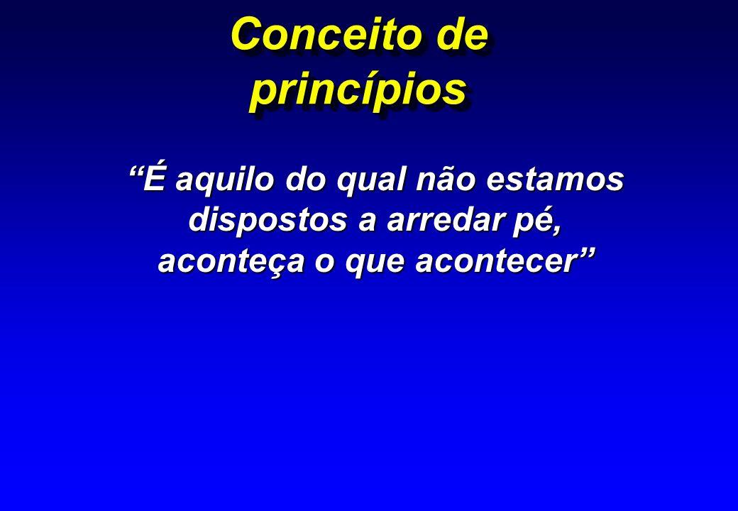 Conceito de princípios É aquilo do qual não estamos dispostos a arredar pé, aconteça o que acontecer