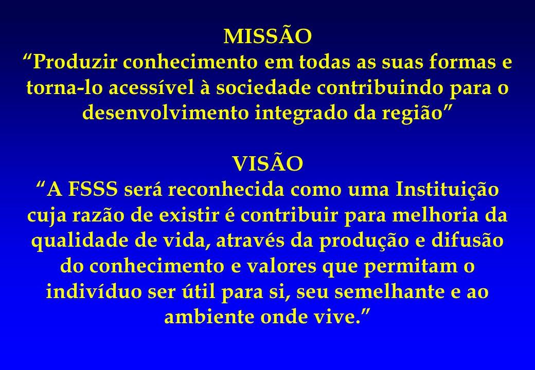 MISSÃOProduzir conhecimento em todas as suas formas e torna-lo acessível à sociedade contribuindo para o desenvolvimento integrado da região VISÃO A F