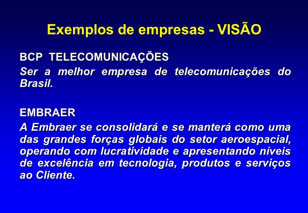 Exemplos de empresas - VISÃO BCP TELECOMUNICAÇÕES Ser a melhor empresa de telecomunicações do Brasil. EMBRAER A Embraer se consolidará e se manterá co