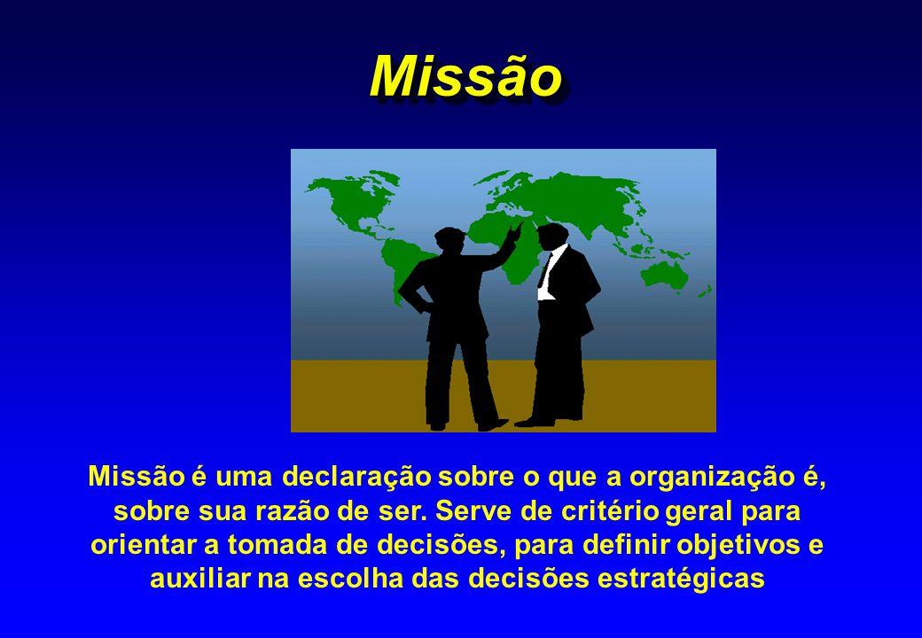 MissãoMissão Missão é uma declaração sobre o que a organização é, sobre sua razão de ser. Serve de critério geral para orientar a tomada de decisões,