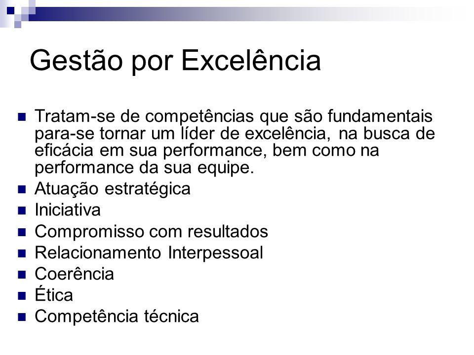 Gestão por Excelência Tratam-se de competências que são fundamentais para-se tornar um líder de excelência, na busca de eficácia em sua performance, b
