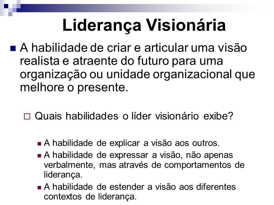 Liderança Visionária A habilidade de criar e articular uma visão realista e atraente do futuro para uma organização ou unidade organizacional que melh