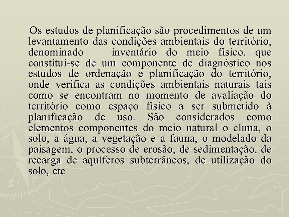 Os estudos de planificação são procedimentos de um levantamento das condições ambientais do território, denominado inventário do meio físico, que cons