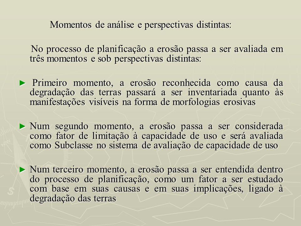 Momentos de análise e perspectivas distintas: Momentos de análise e perspectivas distintas: No processo de planificação a erosão passa a ser avaliada