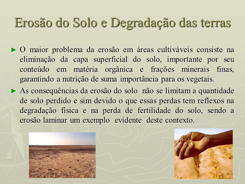 Erosão do Solo e Degradação das terras O maior problema da erosão em áreas cultiváveis consiste na eliminação da capa superficial do solo, importante