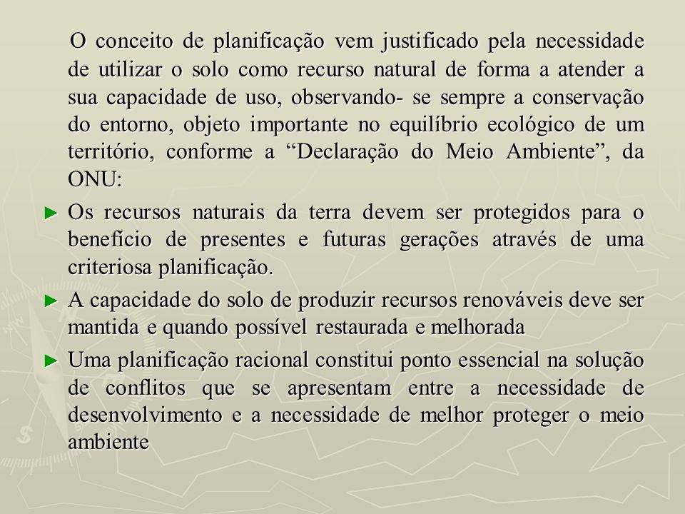 O conceito de planificação vem justificado pela necessidade de utilizar o solo como recurso natural de forma a atender a sua capacidade de uso, observ
