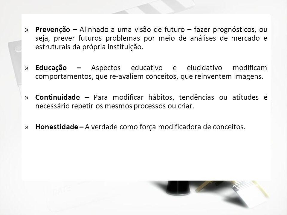 »Prevenção – Alinhado a uma visão de futuro – fazer prognósticos, ou seja, prever futuros problemas por meio de análises de mercado e estruturais da p