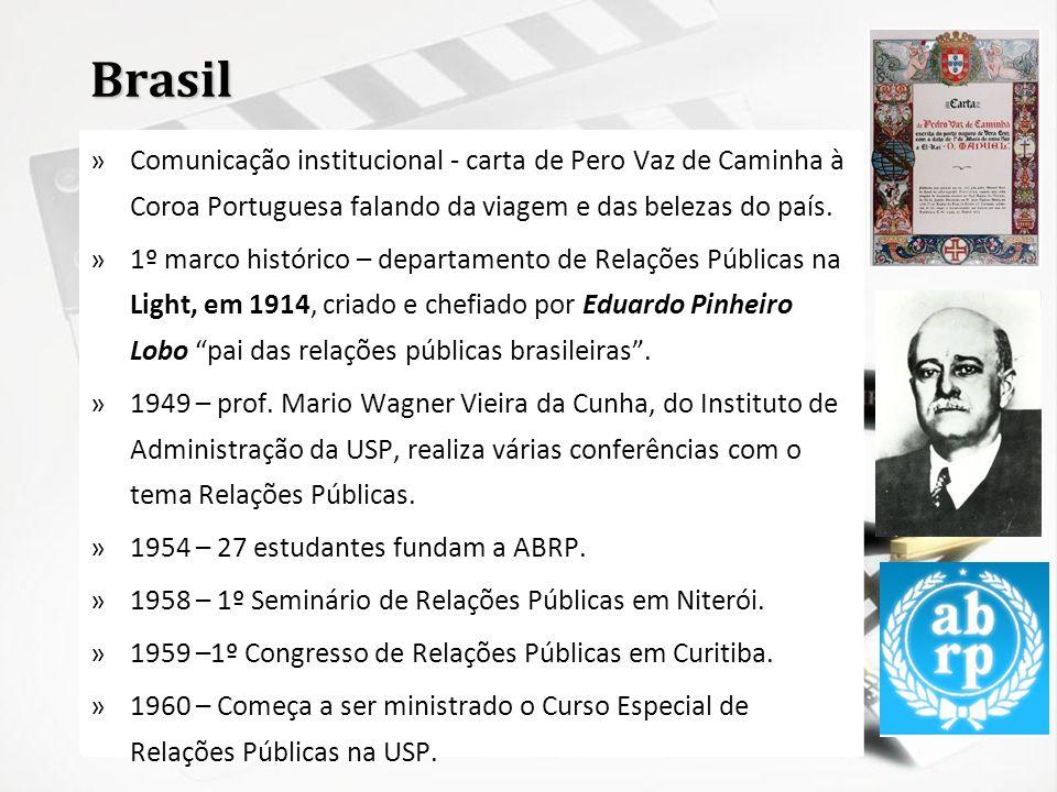 Brasil »Comunicação institucional - carta de Pero Vaz de Caminha à Coroa Portuguesa falando da viagem e das belezas do país. »1º marco histórico – dep