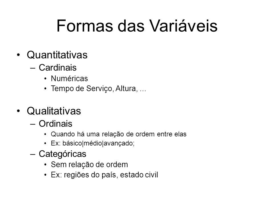 Formas das Variáveis Quantitativas –Cardinais Numéricas Tempo de Serviço, Altura,... Qualitativas –Ordinais Quando há uma relação de ordem entre elas