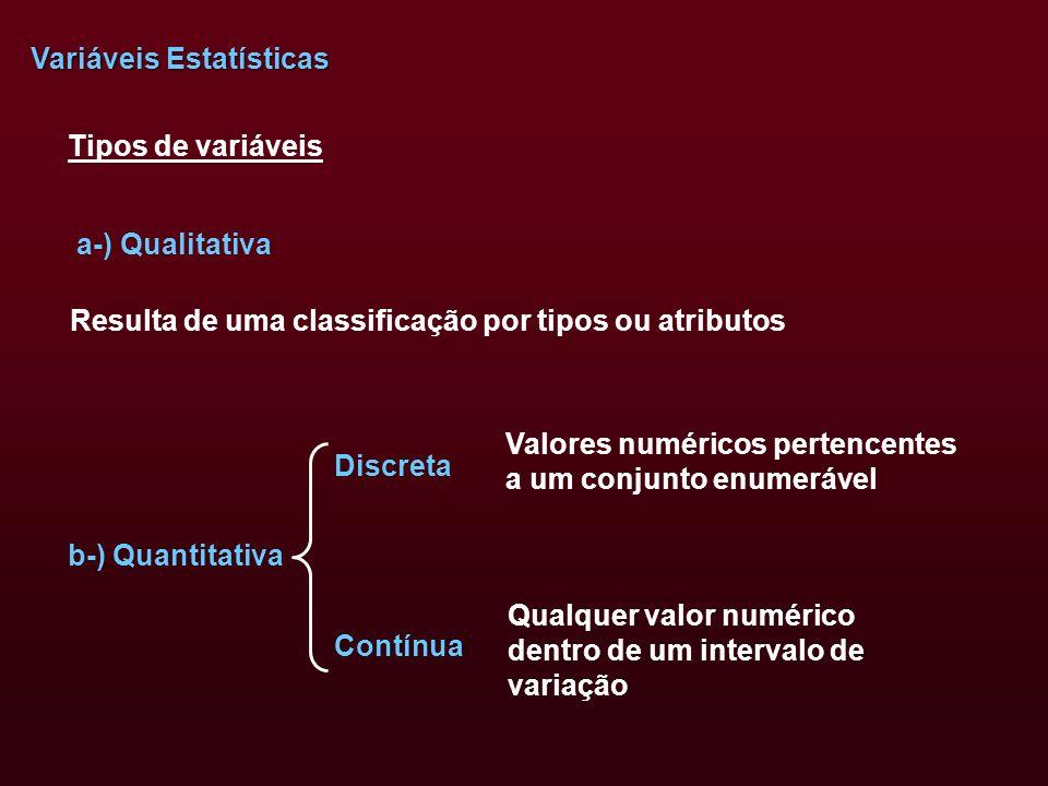 Variáveis Estatísticas a-) Qualitativa Tipos de variáveis b-) Quantitativa Resulta de uma classificação por tipos ou atributos Valores numéricos perte