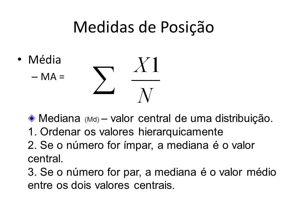Medidas de Posição Média – MA = Mediana (Md) – valor central de uma distribuição. 1. Ordenar os valores hierarquicamente 2. Se o número for ímpar, a m