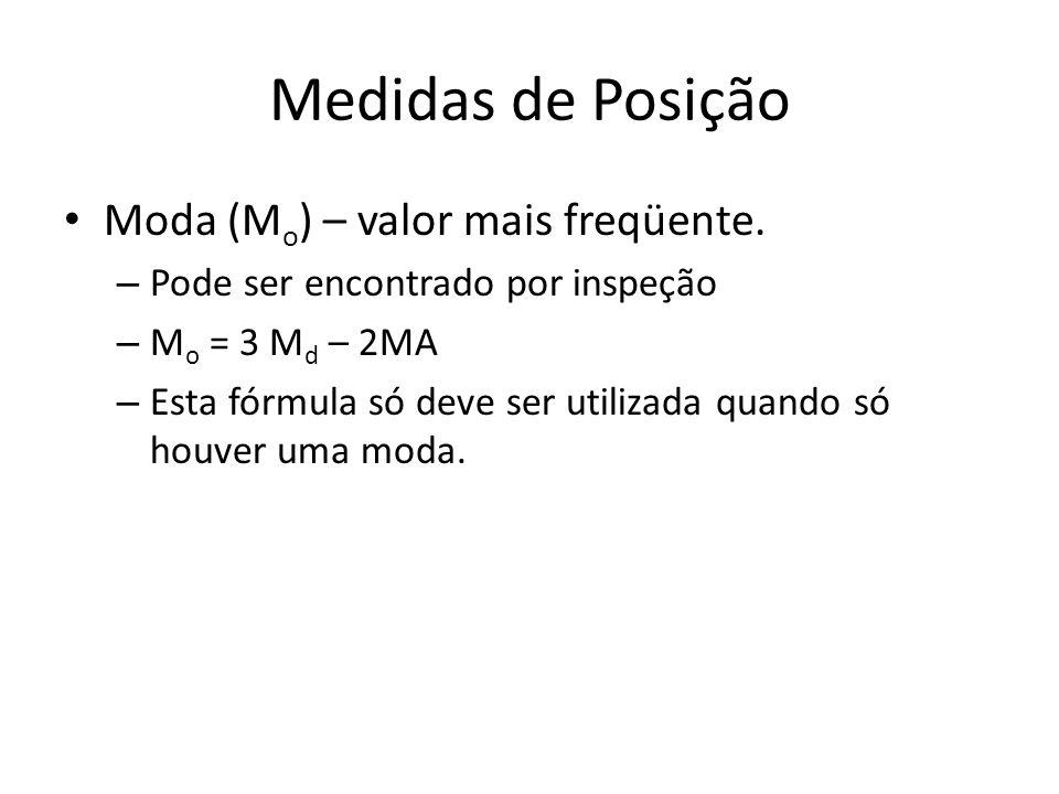Medidas de Posição Moda (M o ) – valor mais freqüente. – Pode ser encontrado por inspeção – M o = 3 M d – 2MA – Esta fórmula só deve ser utilizada qua