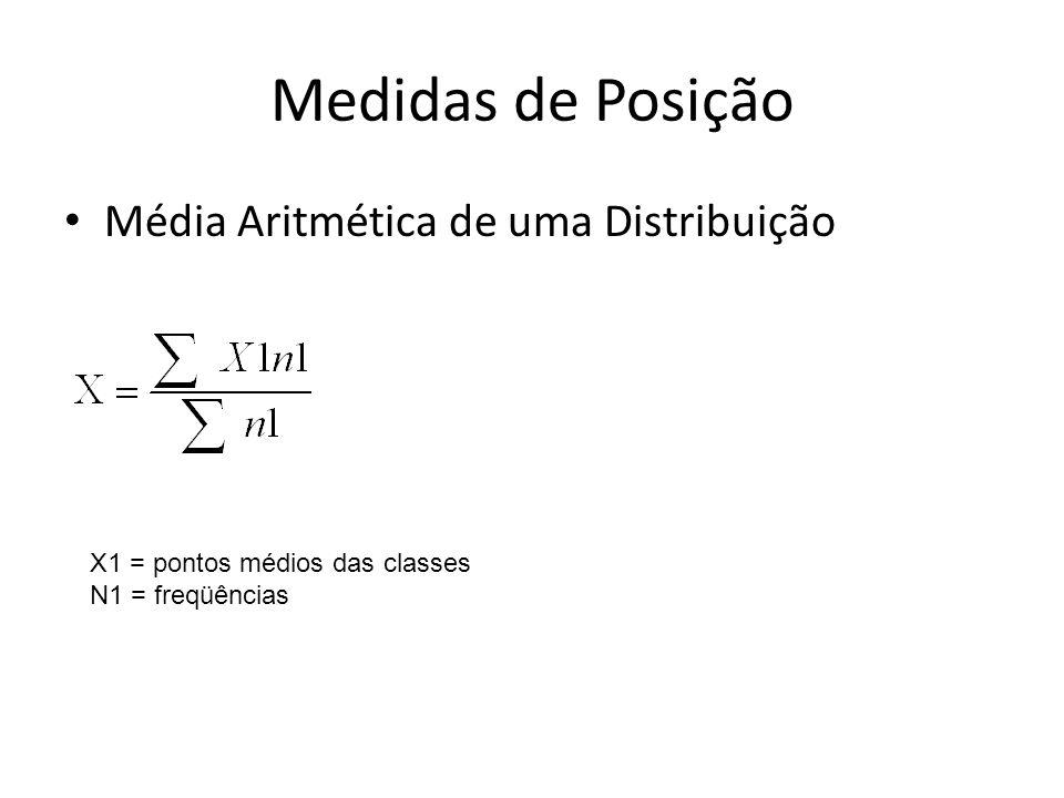 Medidas de Posição Média Aritmética de uma Distribuição X1 = pontos médios das classes N1 = freqüências