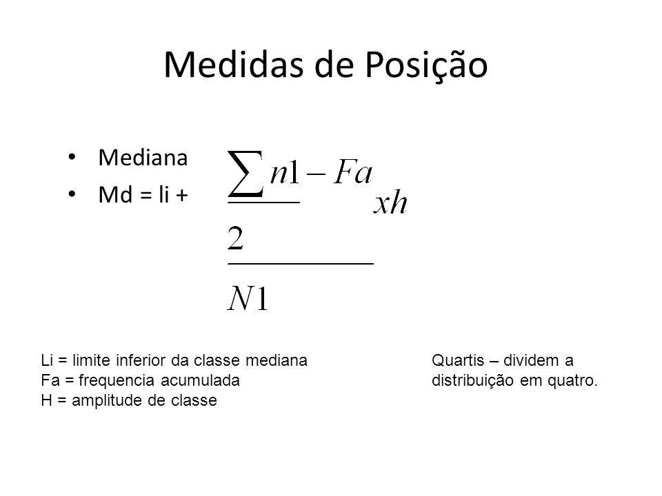 Medidas de Posição Mediana Md = li + Li = limite inferior da classe mediana Fa = frequencia acumulada H = amplitude de classe Quartis – dividem a dist